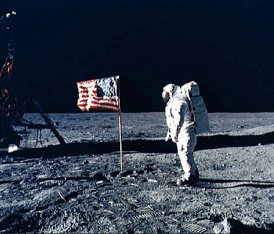 Reasons to live in America flag on the moon