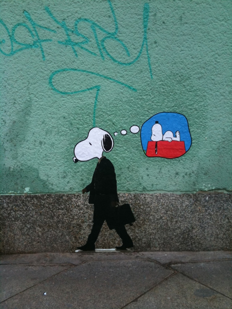 Being an adult is overrated - Snoopy graffiti