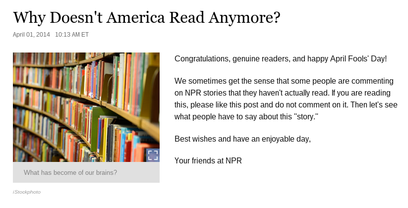 NPR - Why Doesn't America Read Anymore