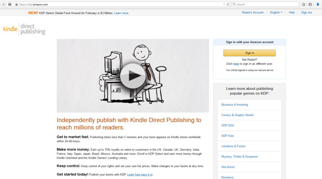 KDP homepage