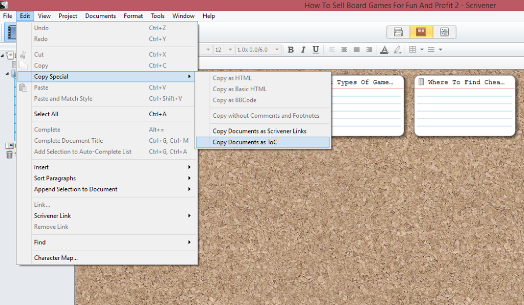 How To Make A Table Of Contents In Scrivener