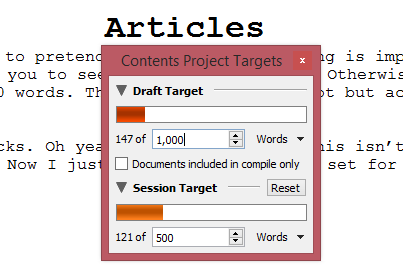 Scrivener Review - Project Targets